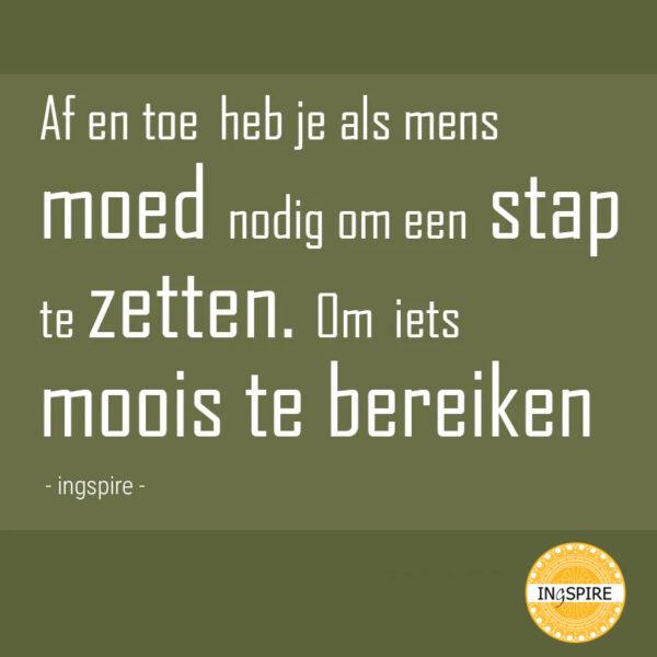 Spreuk: Af en toe heb je als mens moed nodig om een stap te zetten. Om iets moois te bereiken - citaat door inge ingspire