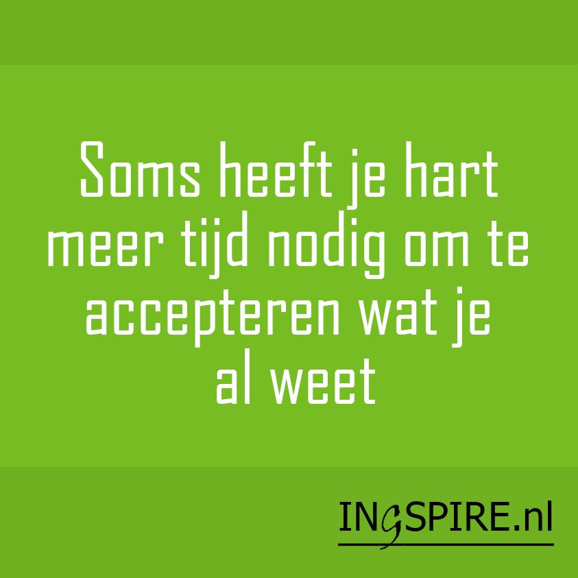Quote: Soms heeft jouw hart meer tijd nodig om te accepteren wat je (geest) al weet