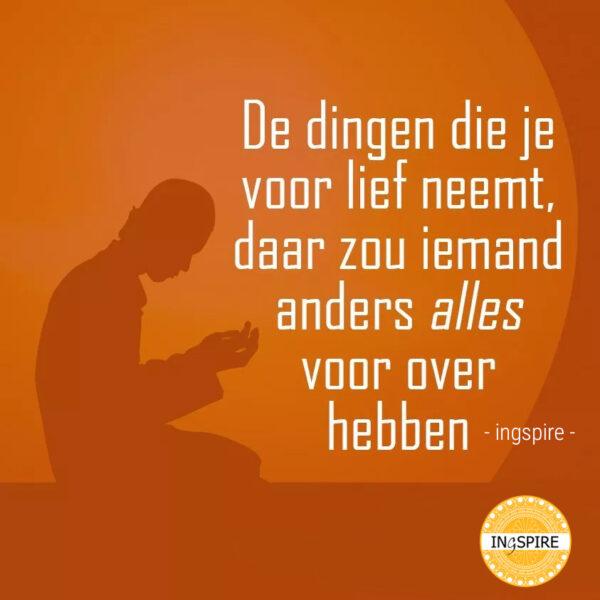 Spreuk inge: De dingen die je voor lief neemt, daar zou iemand anders alles voor over hebben - ingspire.nl
