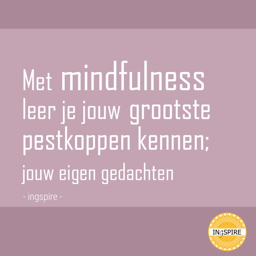 Met mindfulness leer je jouw grootste pestkoppen kennen, namelijk jouw eigen gedachten - ingspire