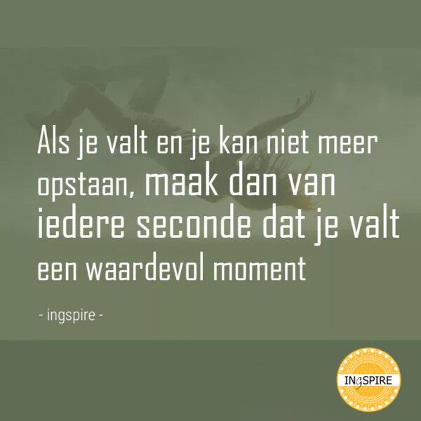 Als je valt en je kan niet meer opstaan, maak dan van iedere seconde dat je valt een waardevol moment - citaat van inge ingspire.nl
