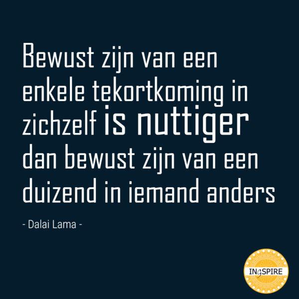 Quote: Bewust zijn van een enkele tekortkoming in zichzelf is nuttiger dan bewust zijn van een duizend in iemand anders
