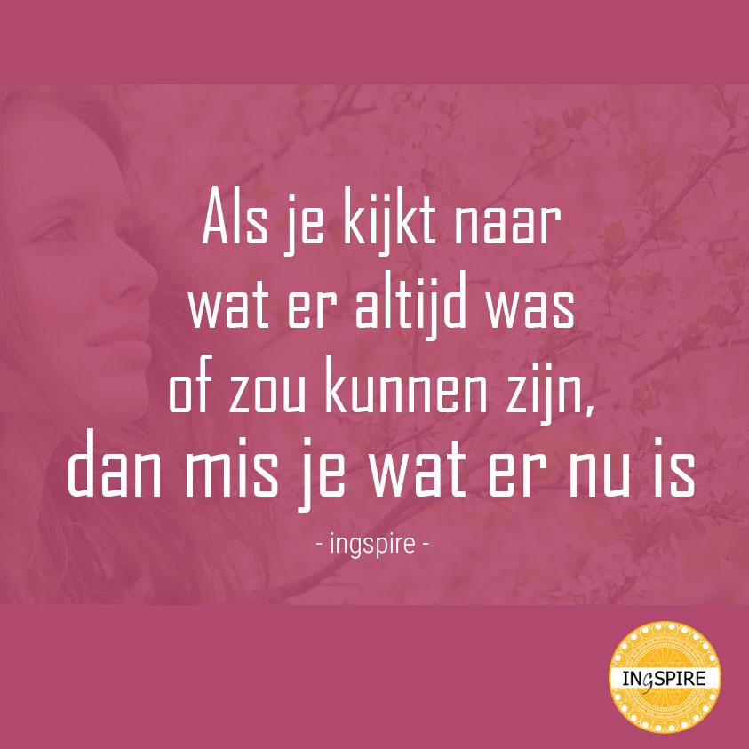 Als je kijkt naar wat er altijd was of zou kunnen zijn dan mis je wat er nu is - citaat van inge ingspire.nl