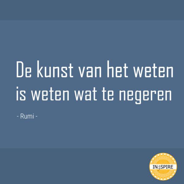 Spreuk van Rumi: De kunst van het weten is weten wat te negeren | ingspire.nl