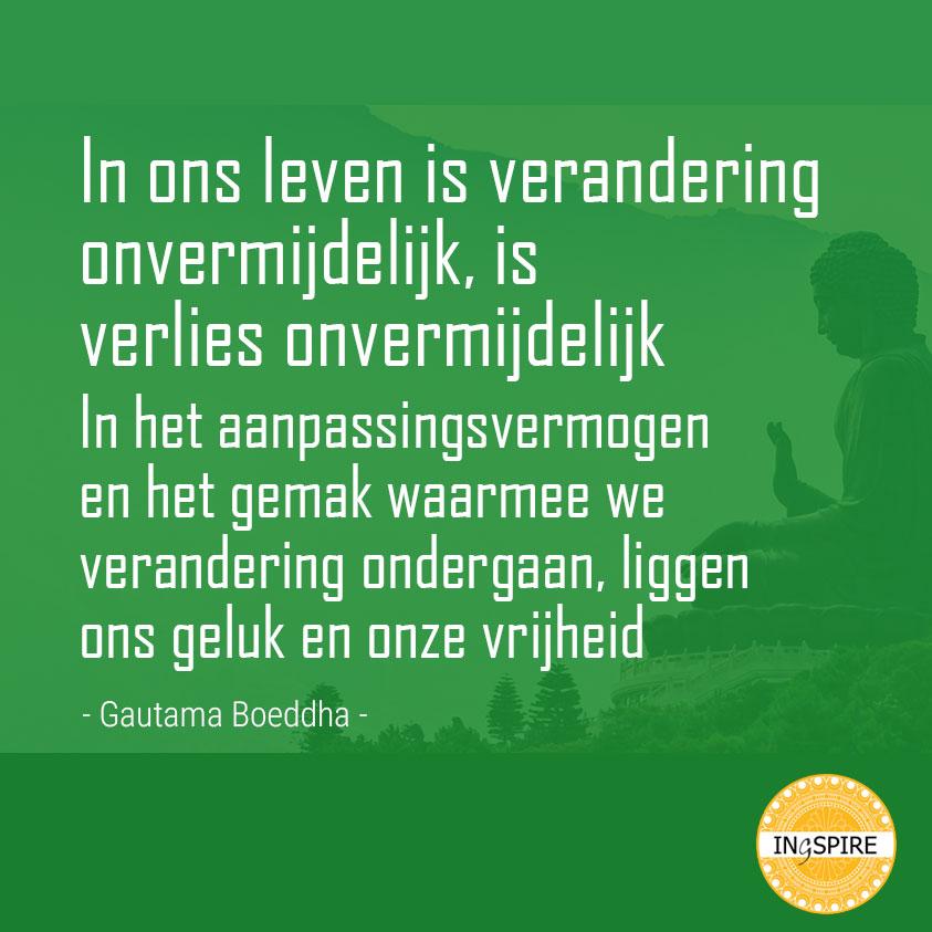 Wijsheid van Boeddha: In het aanpassingsvermogen en het gemak waarmee we verandering ondergaan liggen ons geluk en onze vrijheid - ingspire.nl