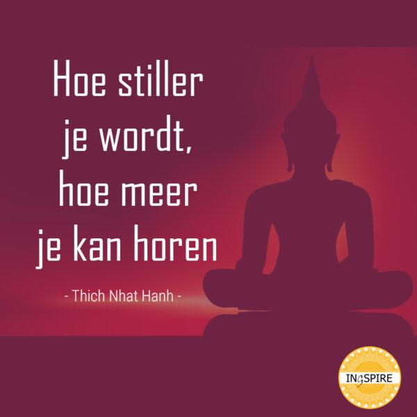 Thich Nhat Hanh citaat - Hoe stiller je wordt, hoe meer je kan horen | meditatie quote ingspire.n